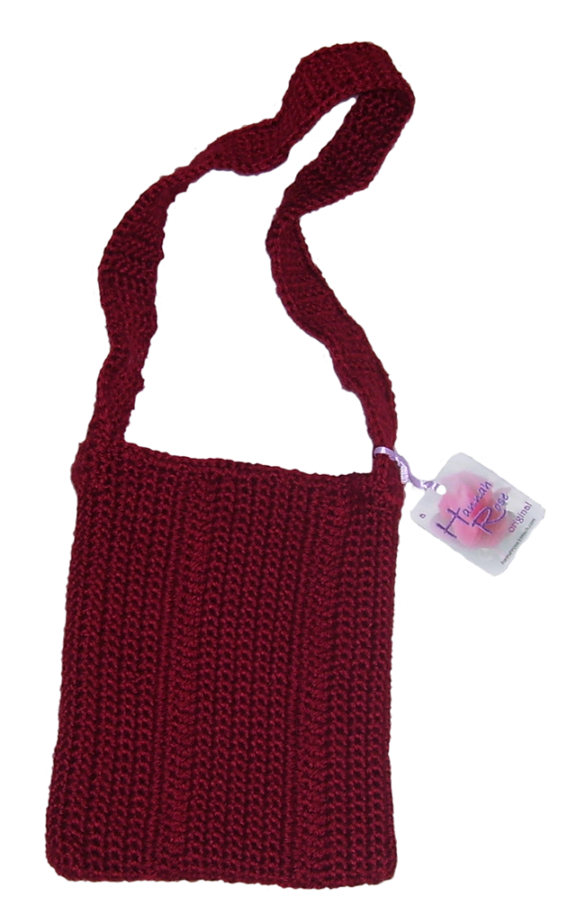 Burgundy acrylic crocheted handbag