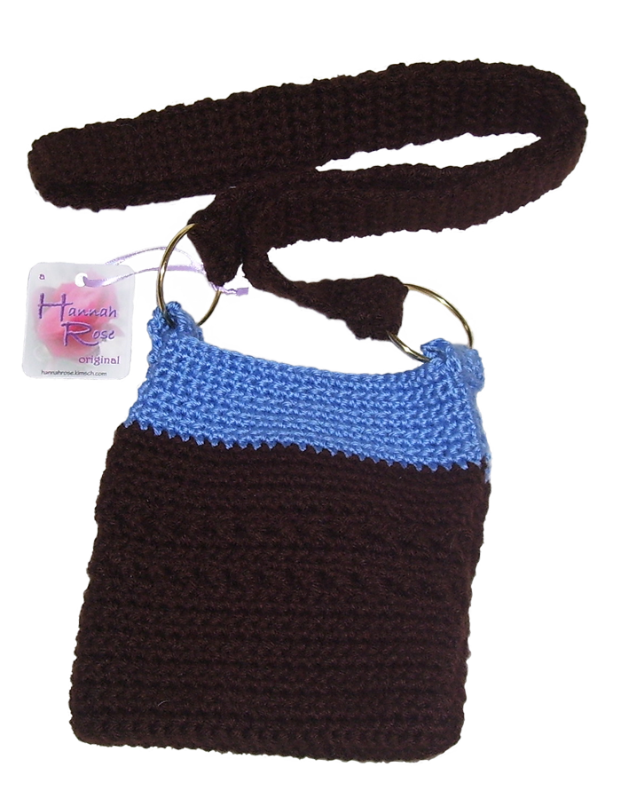 Black and Blue crocheted shoulder bag with brass rings