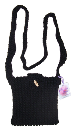 Black crocheted ribbed shoulder bag.