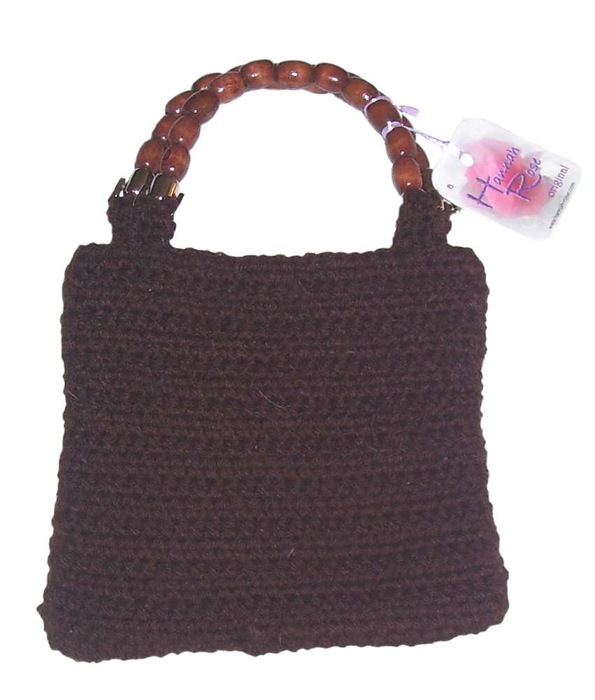 Brown crocheted handbag with wooden bead handles.