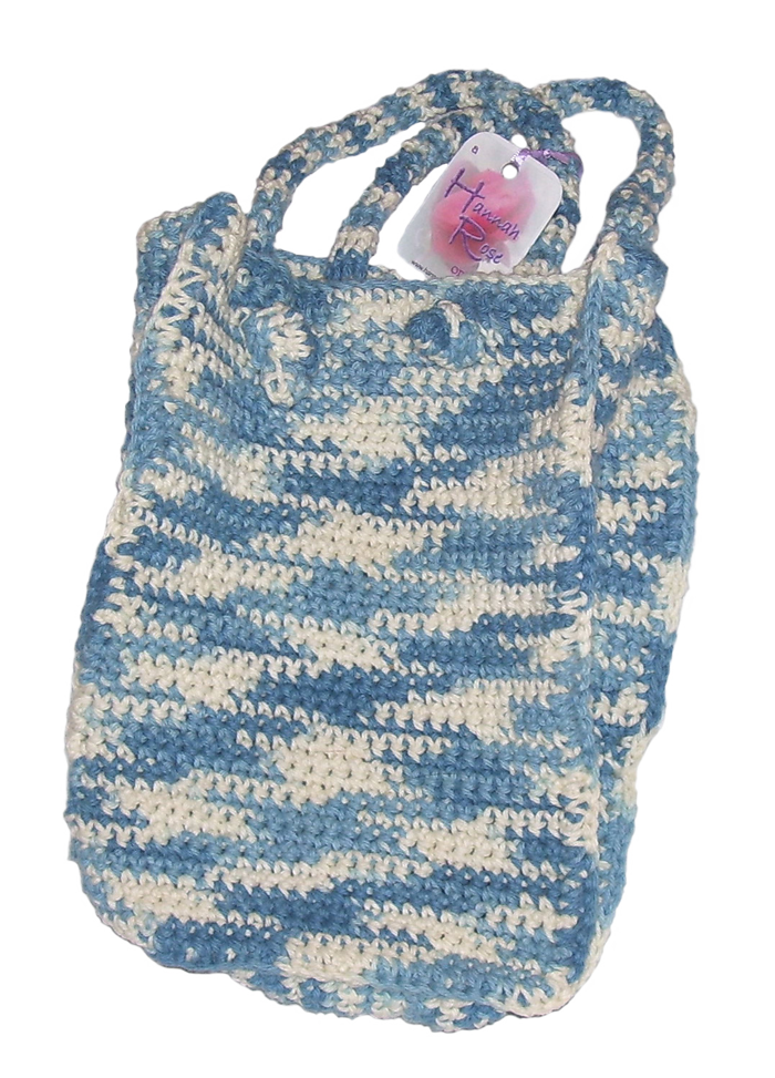 Blue and white cotton bag with two handles