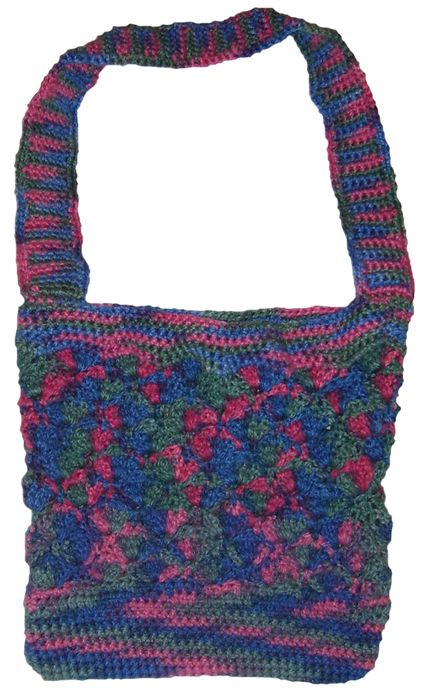 Multi berry colored crocheted chunky handbag.