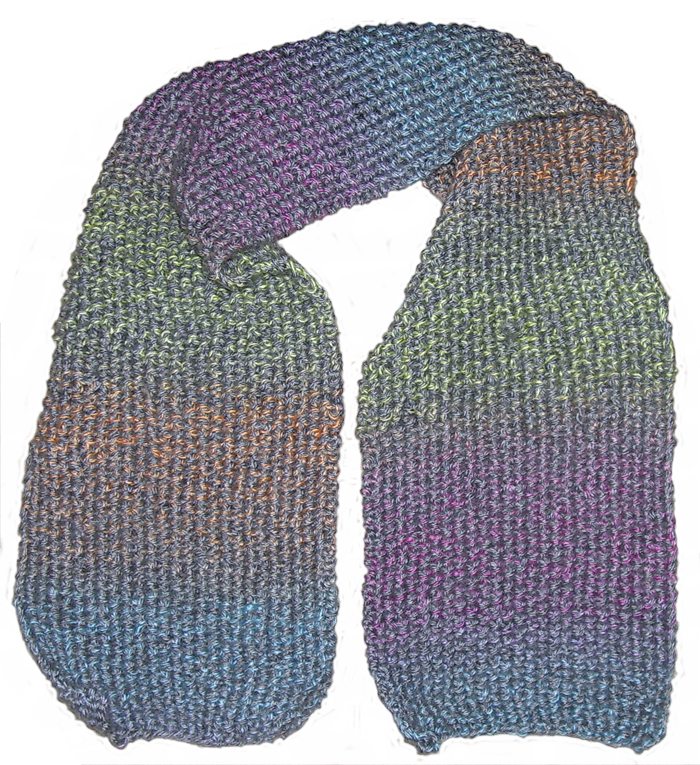 Short scarf in gray multicolor yarn.